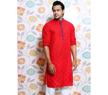 Red all over printed Panjabi for Men by Ritzy
