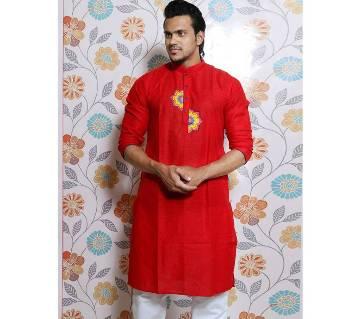 Boishakhi Red Screen print Cotton Long Panjabi for Men