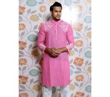 Pink Screen printed Panjabi for Men