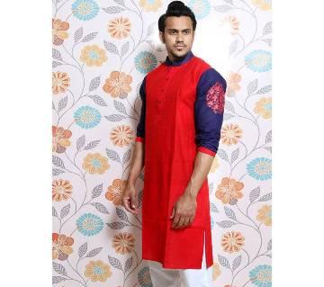 Red Screen printed Panjabi for Men