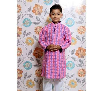 Pink all over printed Kids Panjabi and Payjama Set by Ritzy