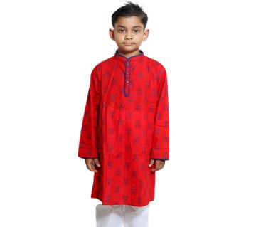Red all over printed Kids Panjabi and Payjama Set by Ritzy