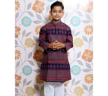Navy Blue all over printed Kid's Panjabi and Payjama Set by Ritzy