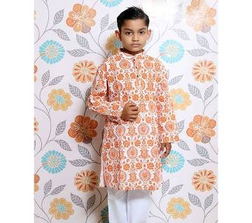 White all over printed Kids Panjabi and Payjama Set by Ritzy