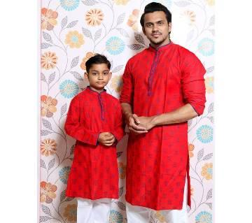 Red all over printed Mens and Kids Panjabi Payjama Set
