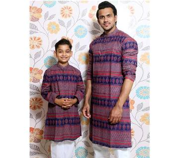 Navy Blue all over printed Mens and Kids Panjabi Payjama Set