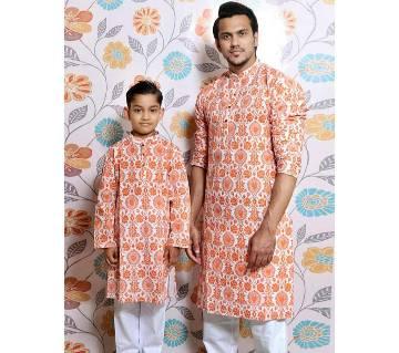 White all over printed Mens and Kids Panjabi Payjama Set