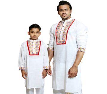 White Screen printed Mens and Kids Panjabi Payjama Set