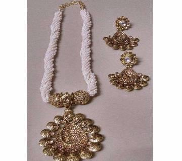 Zinc Alloy Bead & Stone Setting Necklace Set