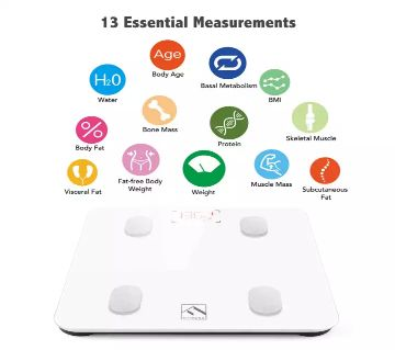 Composition Monitor Health Analyzer with Smartphone App for Body Weight, Fat, Water, BMI, BMR, Muscle Mass - White