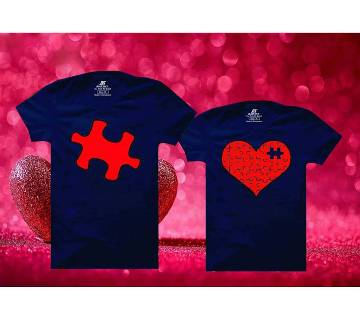 Heart Puzzle Matching Couple Half Sleeve Cotton T-shirt
