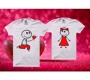 Will You Be My Valentine Matching Couple Half Sleeve Cotton T-shirt