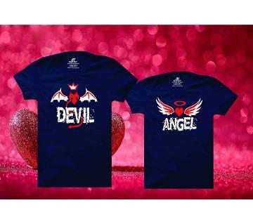 Angel Devil Matching Couple Half Sleeve Cotton T-shirt