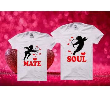 Soul Mate Matching Couple Half Sleeve Cotton T-shirt