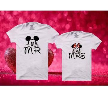 MR MRS Matching Couple Half Sleeve Cotton T-shirt