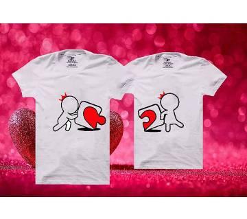 LOVE Matching Couple Half Sleeve Cotton T-shirt