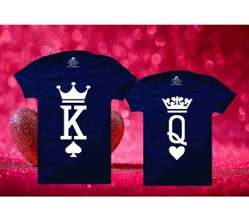 King Queen Matching Couple Half Sleeve Cotton T-shirt