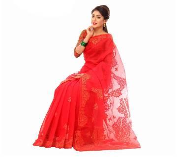 Pure  Muslin Silk Saree Hand Embroidery