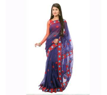 Pure Muslin Silk Hand Embroidery Sharee
