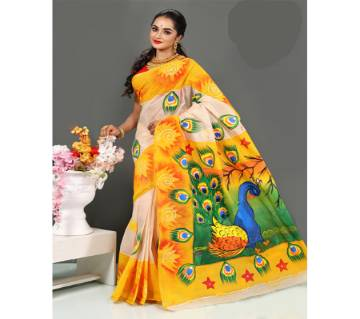 pure cotton with hand paint saree