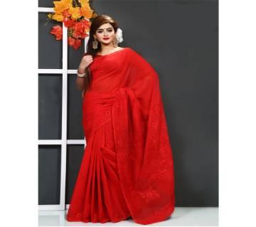 Wpure red muslin silk sharee