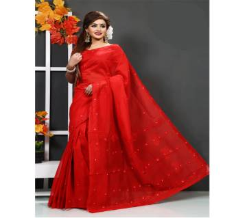 pure red muslin silk sharee