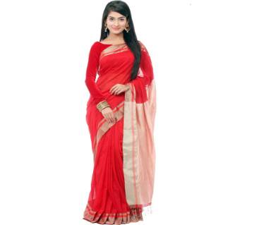 pure red muslin silk saree