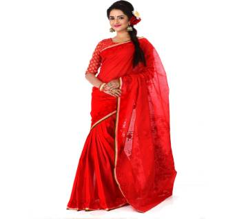 pure red cotton sharee