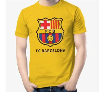 Barcelona মেনজ রাউন্ড নেক টি-শার্ট - ইয়েলো