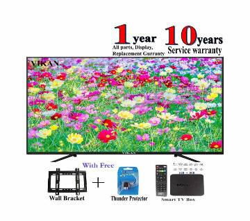 vikan 32 inch led tv + smart / android tv box mxq 4k 1 gb ram , rom 8 gb