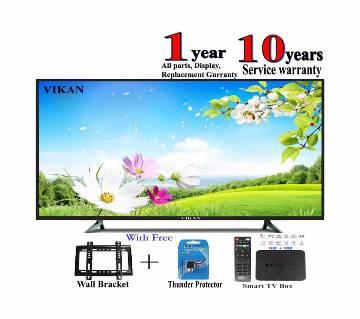 vikan d/glass 32 inch led tv + smart / android tv box mxq 4k 1 gb ram , rom 8 gb
