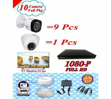DAHUA 10 CC Camera Pakage +tv Monitor 32 inch Pkgdah-114