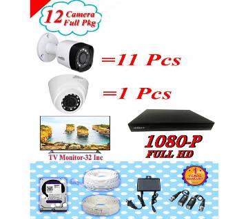 Dahua 12 CC Camera Pakage +tv Monitor 32 inch Pkgdah-116