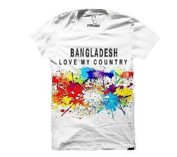 Bangladesh Designed Half Sleeve Cotton T-Shirt - White