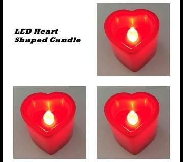 LED Heart Shaped Candle Light- 3 PCS