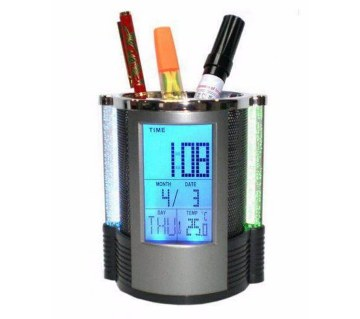 Digital Pen Holder Clock with Temperature Display