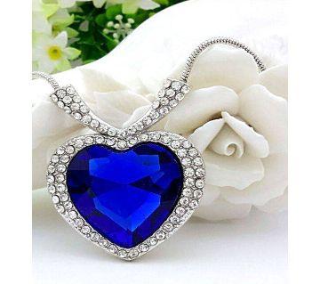 Blue Titanic Heart Shaped নেকলেস