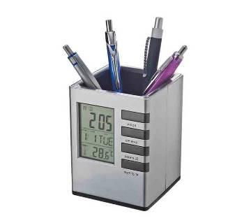 Digital Pen Holder with Clock