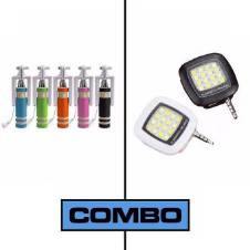 Combo Offer of Selfie Stick and Selfie Flash Light-Multicolor