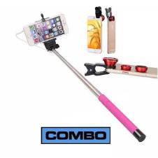 Combo Offer of Mobile Clip Lens and Selfie Stick-Multicolor
