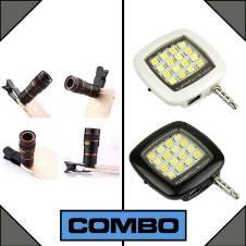 Combo of Universal 8x Optical Zoom Telescope Camera Lens + LED Flashlight