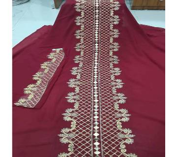 Unstitched Weightless Georgette Embroidery Single Piece Kurrti