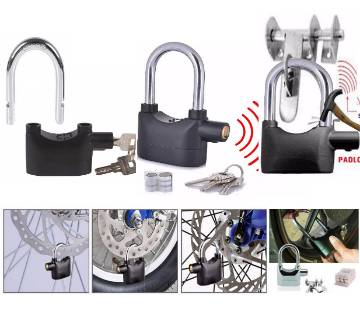 Universal Security  Alarm Padlock  for Bicycle Motorcycle Door Gate Bike Shed Bolt Chain Lock 110db Siren Heavy Duty Security Alarm Lock (17mm Shackle)