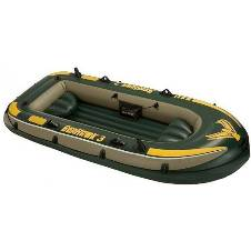 Intex Seahawk 3, 3-Person Inflatable Boat Set with Aluminum Oars and High Output Air Pump