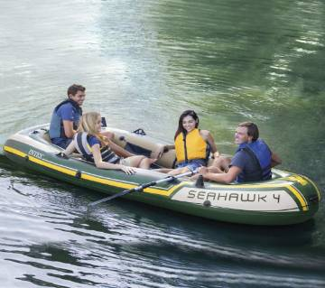 Intex Seahawk 4, 4-Person Inflatable Boat Set with Aluminum Oars and High Output Air Pump