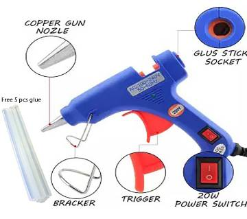 Ultra Fast Hot Melt Glue Gun - 20 W with 5 pcs Glue Stick (Small Size)