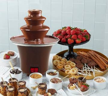 Chocolate Fondue Electric Fountain 3-Tier Melting Machine Stainless Steel Pots