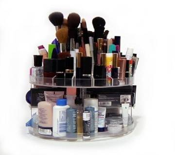 Glam Caddy 360 Rotating Cosmetic Organizer with Drawers (Transparent)