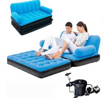 5 in 1 inflatable air sofa bed & air pumper