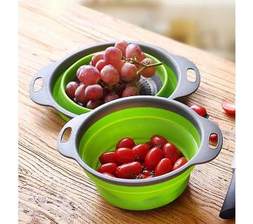 2 x Collapsible Colanders (Strainers) Set kitchen Strainer Space-Saver Folding Strainer Colander